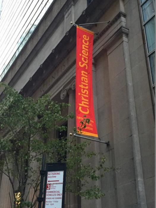 Ace Banner | An image of an outdoor banner installed at First Church of Christ,